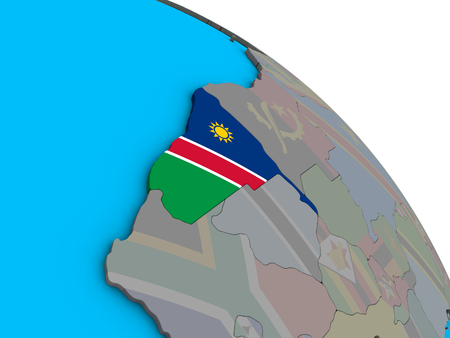 Namibia with embedded national flag on simple blue political 3D globe. 3D illustration.