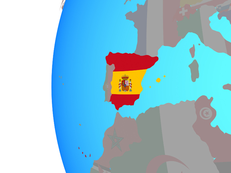 Spain with embedded national flag on blue political globe. 3D illustration.