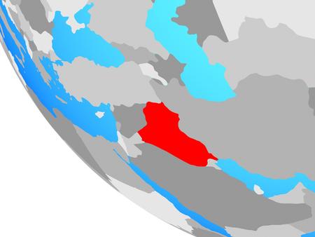 Iraq on simple globe. 3D illustration. Stockfoto