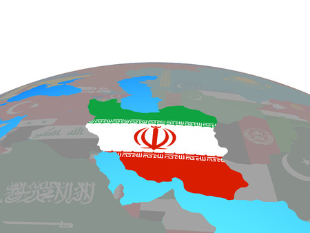 Iran with national flag on political globe. 3D illustration.