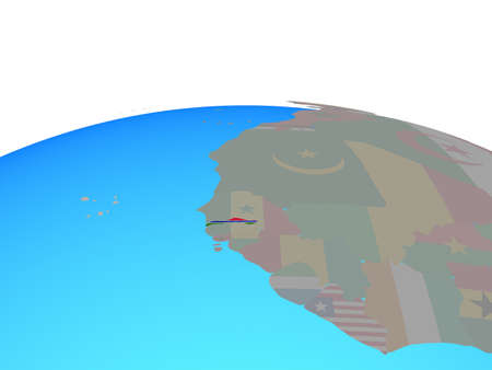 Gambia with national flag on political globe. 3D illustration.