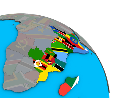 East Africa with embedded national flags on simple blue political 3D globe. 3D illustration.