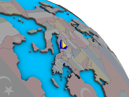 Bosnia and Herzegovina with embedded national flag on simple blue political 3D globe. 3D illustration. Stock Photo