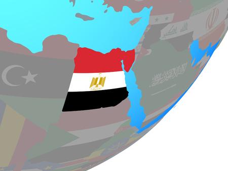 Egypt with embedded national flag on blue political globe. 3D illustration.