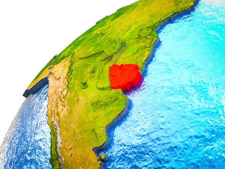 Uruguay on 3D Earth model with visible country borders. 3D illustration.