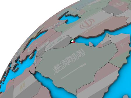 Kuwait with national flag on 3D globe. 3D illustration.