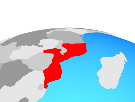 Mozambique on political globe. 3D illustration. Standard-Bild - 112170800