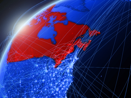Canada on model of green planet Earth with international networks. Concept of blue digital communication and technology. 3D illustration.