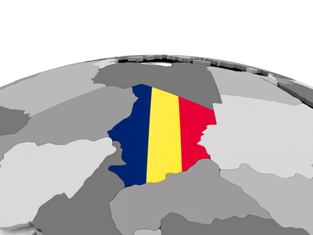 Chad on grey political globe with embedded flag. 3D illustration. Stockfoto