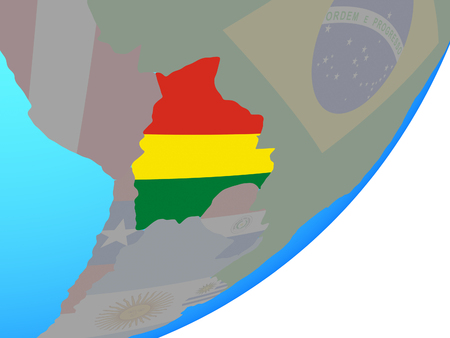 Bolivia with embedded national flag on blue political globe. 3D illustration. Reklamní fotografie