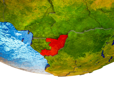Congo on 3D Earth with divided countries and watery oceans. 3D illustration. Standard-Bild - 112170372