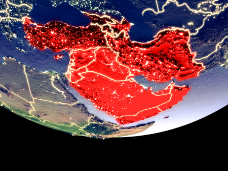 Satellite view of Western Asia from space at night. Beautifully detailed plastic planet surface with visible city lights. 3D illustration.