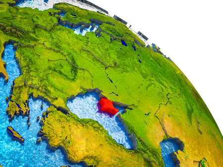Crimea Highlighted on 3D Earth model with water and visible country borders. 3D illustration. Stock Photo