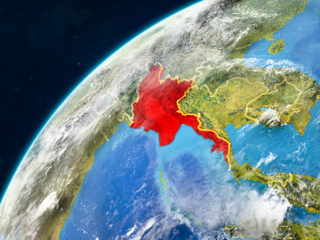 Myanmar on realistic model of planet Earth with country borders and very detailed planet surface and clouds. 3D illustration.