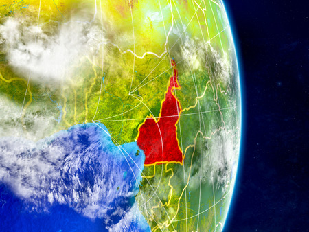 Cameroon on planet Earth with networks. Extremely detailed planet surface and clouds. 3D illustration.