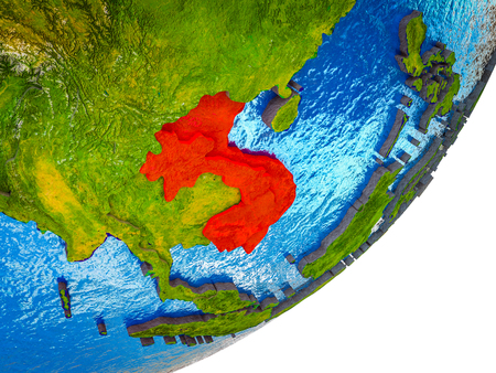 Indochina on 3D model of Earth with water and divided countries. 3D illustration.