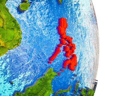 Philippines on 3D model of Earth with divided countries and blue oceans. 3D illustration.