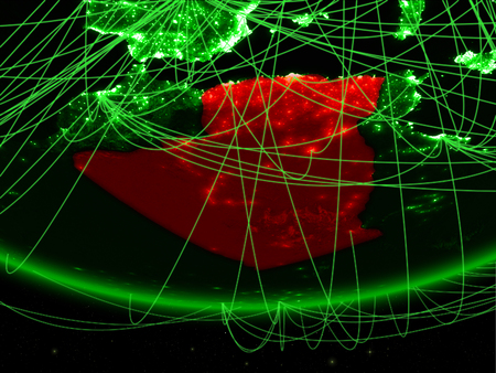 Algeria on green model of planet Earth with network representing green age, travel and communication. 3D illustration.