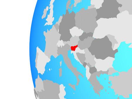 Slovenia on blue political globe. 3D illustration.