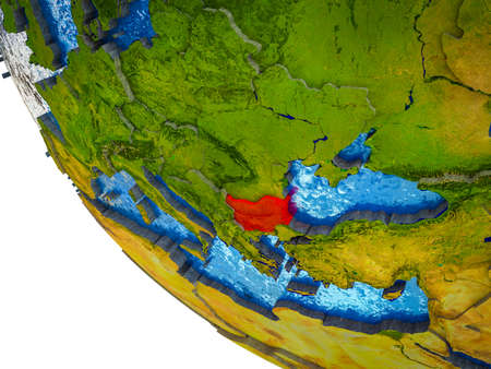 Bulgaria on model of Earth with country borders and blue oceans with waves. 3D illustration.