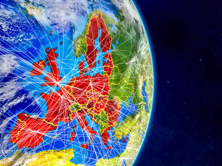 European Union on planet Earth with networks. Extremely detailed planet surface and clouds. 3D illustration.