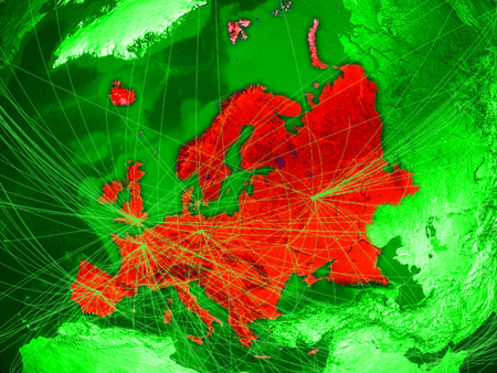 Europe on green Earth in space with networks representing air traffic or telecommunications. 3D illustration. Stock Photo