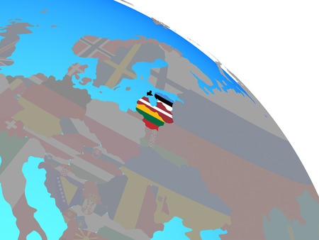 Baltic States with national flags on simple blue political globe. 3D illustration.