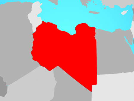 Libya on blue political globe. 3D illustration.