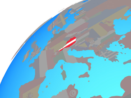 Austria with embedded national flag on globe. 3D illustration. Standard-Bild - 112167768