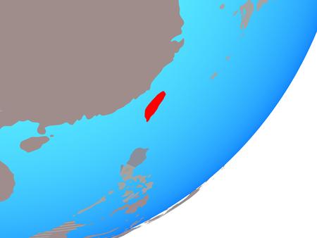Taiwan with embedded national flag on blue political globe. 3D illustration. Stok Fotoğraf
