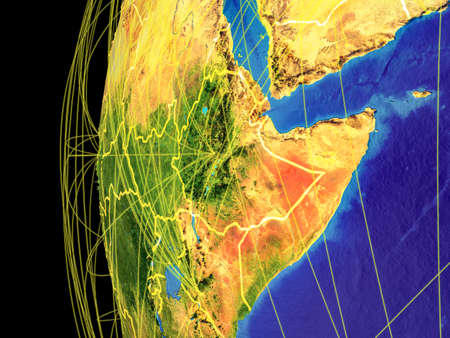 Horn of Africa from space on planet Earth with lines representing global communication, travel, connections. 3D illustration.