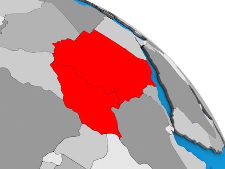 Sudan on simple blue political 3D globe. 3D illustration.