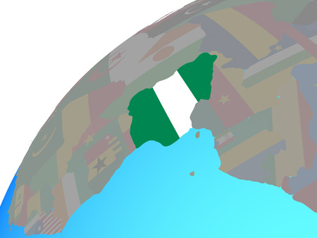 Nigeria with embedded national flag on globe. 3D illustration. Stock Photo