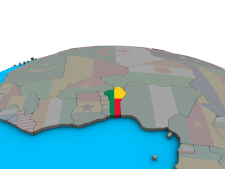 Benin with embedded national flag on political 3D globe. 3D illustration.