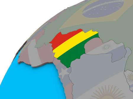 Bolivia with national flag on 3D globe. 3D illustration. Reklamní fotografie