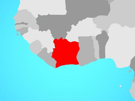 Ivory Coast on blue political globe. 3D illustration. Stockfoto