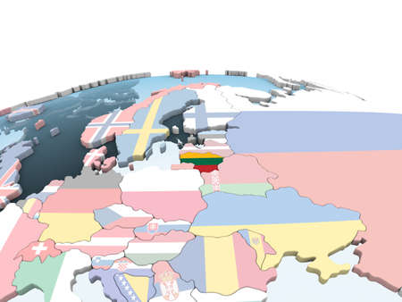 Lithuania on bright political globe with embedded flag. 3D illustration.