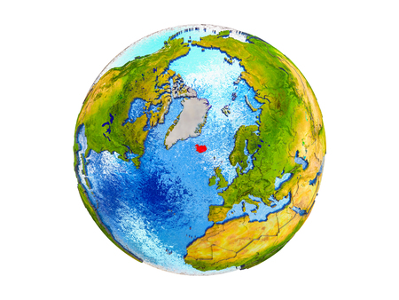 Iceland on 3D model of Earth with country borders and water in oceans. 3D illustration isolated on white background. Stock Photo