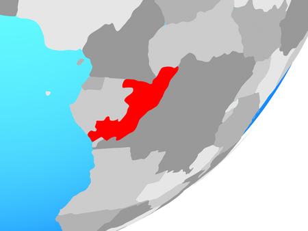 Congo on blue political globe. 3D illustration. Standard-Bild - 112168977