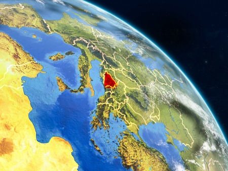 Bosnia and Herzegovina from space on realistic model of planet Earth with country borders and detailed planet surface and clouds. 3D illustration.
