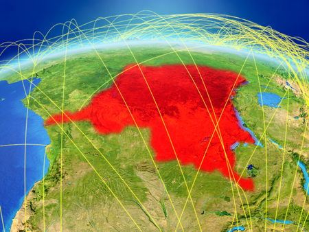 Dem Rep of Congo on planet Earth with international network representing communication, travel and connections. 3D illustration. Banco de Imagens