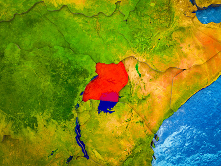 Uganda on model of 3D Earth with blue oceans and divided countries. 3D illustration.