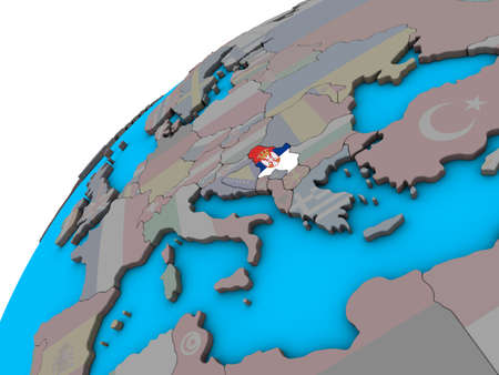 Serbia with national flag on 3D globe. 3D illustration. Imagens