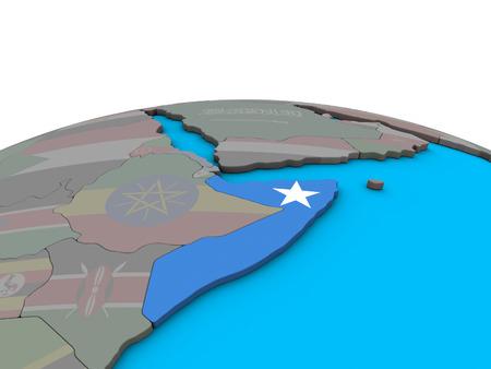 Somalia with embedded national flag on political 3D globe. 3D illustration.