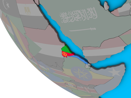 Eritrea with embedded national flag on simple 3D globe. 3D illustration.