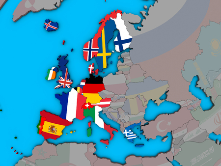 Western Europe with embedded national flags on blue political 3D globe. 3D illustration.