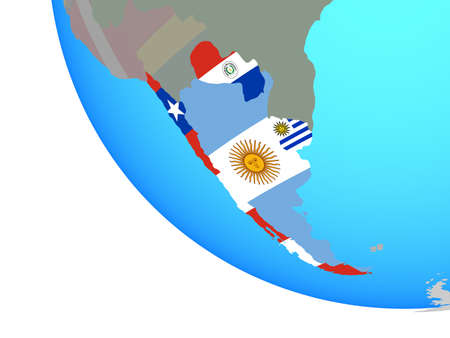Southern Cone with national flags on simple globe. 3D illustration.