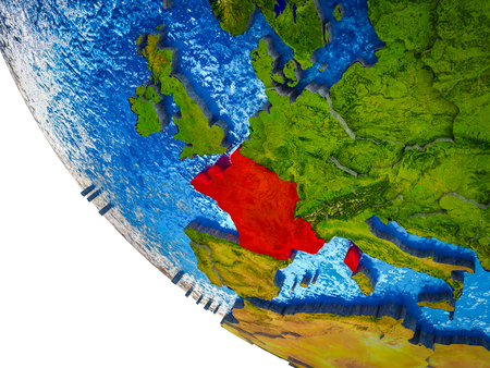 France on model of Earth with country borders and blue oceans with waves. 3D illustration.