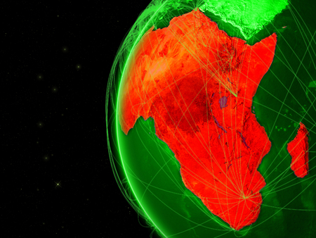 Africa on green Earth with network representing telecommunications, internet or intercontinental air traffic. 3D illustration.