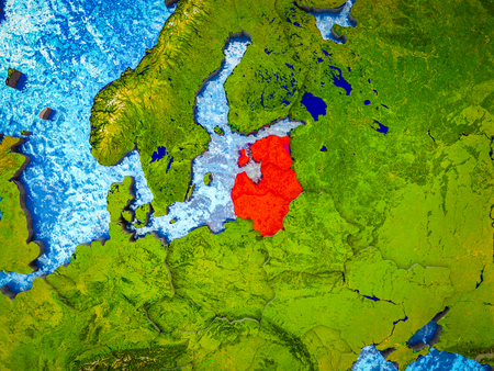 Baltic States on model of 3D Earth with blue oceans and divided countries. 3D illustration.